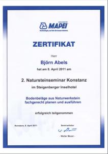 Zertifikat Bodenbeläge aus Naturwerkstein fachgerecht planen un ausführen