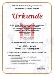 Zertifikat Reinigung, Schutz und Pflege von Natursteinen, Kunststeinen und Keramik
